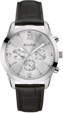 Bulova Men's Chronograph Black Leather Strap Watch 40mm 96A162, A Macy's Exclusive Style