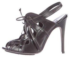 Giambattista Valli Leather Peep-Toe Booties