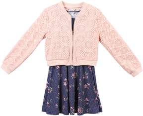 Speechless Girls 7-16 Lace Jacket & Floral Sleeveless Dress Set
