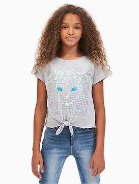 Calvin Klein Jeans Girls Sequin Tie-Front T-Shirt