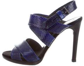 Reed Krakoff Embossed Leather Crossover Sandals