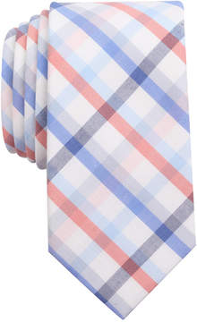 Bar III Men's Coral Blue Check Slim Tie, Created for Macy's