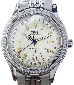 Oris Date Pointer 7465 B Stainless Steel Automatic Dress Men 1990s Watch