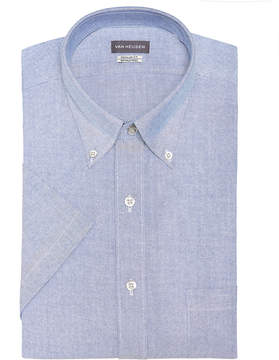 Van Heusen Men's Classic-Fit Flex Collar Wrinkle Free Short-Sleeve Oxford Dress Shirt