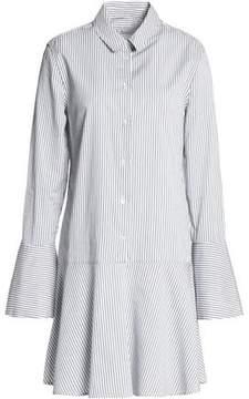 Equipment Fluted Striped Cotton-Poplin Mini Dress