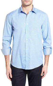 Bugatchi Shaped Fit Dot Grid Sport Shirt