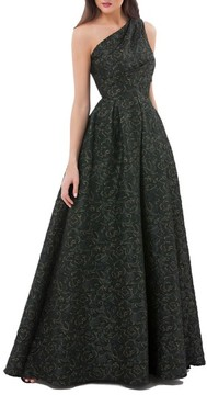 Carmen Marc Valvo Women's Metallic Brocade One-Shoulder Gown