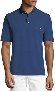 Neiman Marcus Button-Down Knit Polo Shirt, Dark Blue
