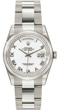 Rolex Day-Date White Dial 18K White Gold Oyster Bracelet Automatic Men's Watch 118209WRO