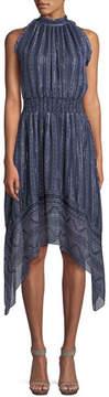 Shoshanna Barissa Metallic Silk Halter Dress