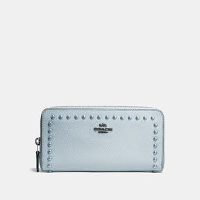 COACH Coach Accordion Zip Wallet With Lacquer Rivets - DARK GUNMETAL/PALE BLUE - STYLE