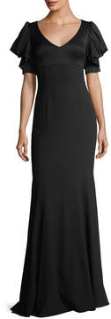 David Meister V-Neck Puff-Sleeve Evening Gown