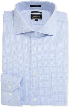 Neiman Marcus Trim-Fit Diamond-Print Dress Shirt, Blue