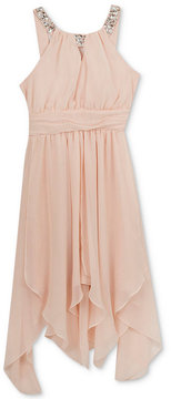 Rare Editions Embellished-Neck Handkerchief-Hem Dress, Big Girls (7-16)