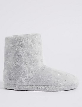 Marks and Spencer Heart Sequin Slipper Boots