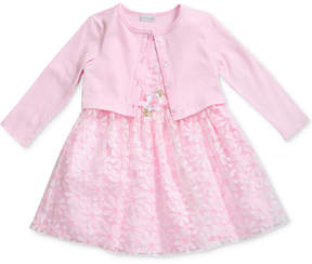 Sweet Heart Rose 2-Pc. Cardigan & Embroidered Striped Dress Set, Little Girls