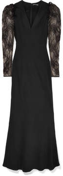 Alexander McQueen Embroidered Tulle And Crepe Gown - Black