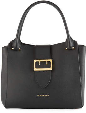 Burberry Buckle Medium Grained Leather Tote Bag, Black