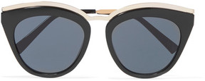 Le Specs Eye Slay Cat-eye Acetate And Gold-tone Sunglasses - Black