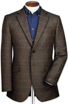 Charles Tyrwhitt Slim Fit Brown Checkered Lambswool Wool Jacket Size 40