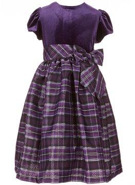 Jayne Copeland Big Girls 7-12 Velvet-Plaid Dress