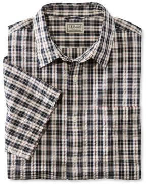 L.L. Bean L.L.Bean Tartan Seersucker Shirt, Short-Sleeve Slightly Fitted