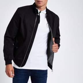 River Island Mens Black embroidered harrington jacket