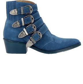 Toga Pulla Light Blue Suede Ankle Boots
