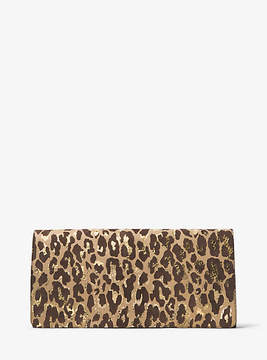 Michael Kors Christy Extra-Large Leopard Intarsia Suede Clutch - NATURAL - STYLE