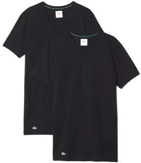 Lacoste Men's 2-Pc Black V-Neck Stretch Short Sleeve T-Shirt