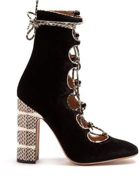 Valentino Lace-up velvet ankle boots