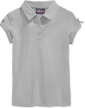 Nautica School Uniform Bow-Sleeve Polo, Little Girls