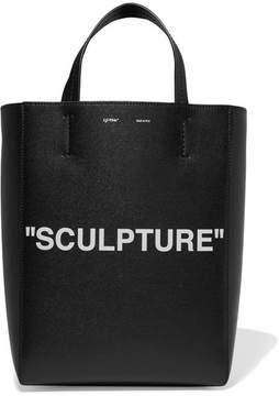 Off-White - Medium Printed Textured-leather Tote - Black