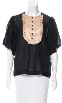 By Malene Birger Contrast Ruffle-Trimmed Blouse