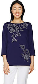 Bob Mackie Floral Sequin and Embroidered KnitTop