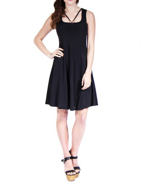 24/7 Comfort Apparel Abstract Neckline Fit & Flare Dress