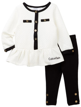 Calvin Klein Quilted Tunic & Legging Set (Baby Girls)