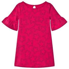 Lands' End Hot Pink Star Pattern Bell Sleeve Ponte Dress