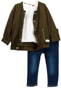 7 For All Mankind Bomber, Popover, & Skinny Jeans Set (Baby Girls)