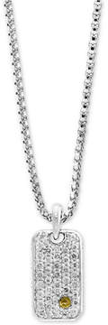 Effy Men's White Sapphire Cluster Dog Tag Pendant Necklace (1-3/8 ct. t.w.) in Sterling Silver & 18k Gold