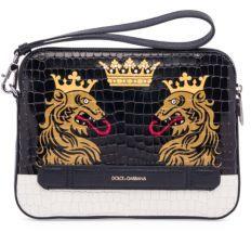Dolce & Gabbana Textured Leather Clutch Bag