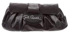 Just Cavalli Embossed Leather Clutch