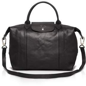 Longchamp Le Pliage Medium Leather Satchel - BLACK/SILVER - STYLE