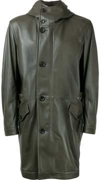 Cerruti hooded leather coat
