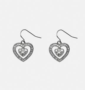 Avenue Stone Encrusted Heart Drop Earrings