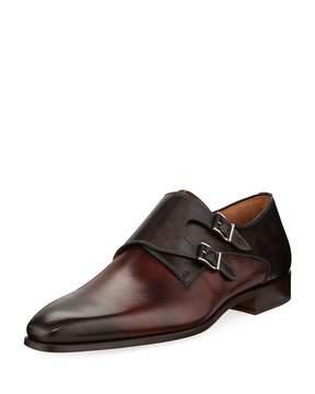 Magnanni Hand-Antiqued Calf Two-Tone Dress Shoe, Dark Brown