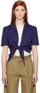 Carven Navy Tie Front Blouse