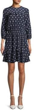 Shoshanna Felicity Silk Mini Dress w/ Floral Medallions