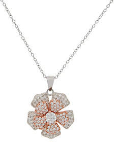 Diamonique Spinning Flower Pendant with ChainSterling Silver