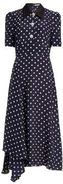 Navy Blue Alessandra Rich Polka-Dot Silk-Chiffon Midi Dress